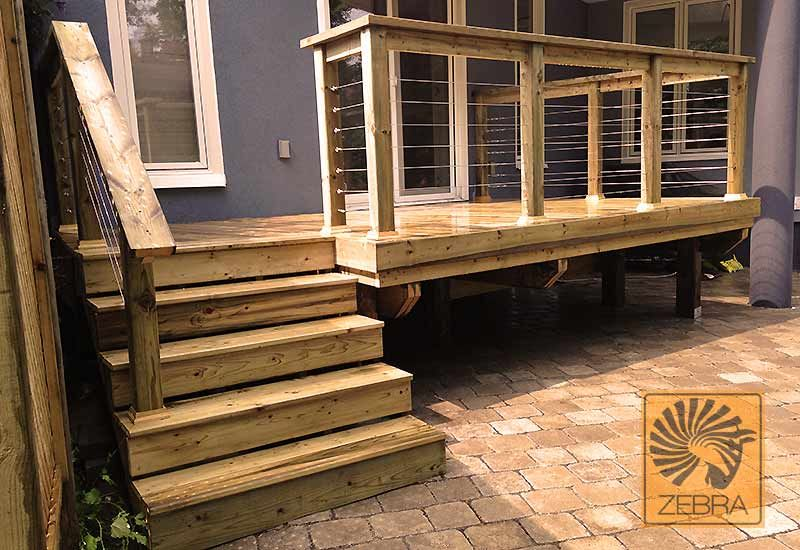 Affordable Cable Railing Deck Renovation House Exterior Deck