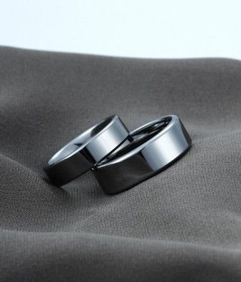 Couples Flat Polished Shiny Tungsten Carbide Matching Wedding Bands