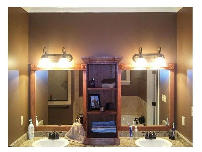 How To Break One Mirror Into Two And Add Storage In Between By Framing Double Vanity With