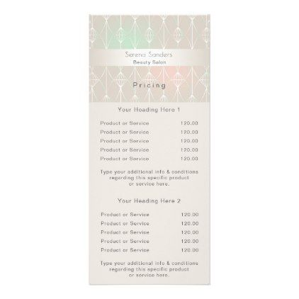 Geometric Beauty Salon Price List Ombre Pastels Rack Card