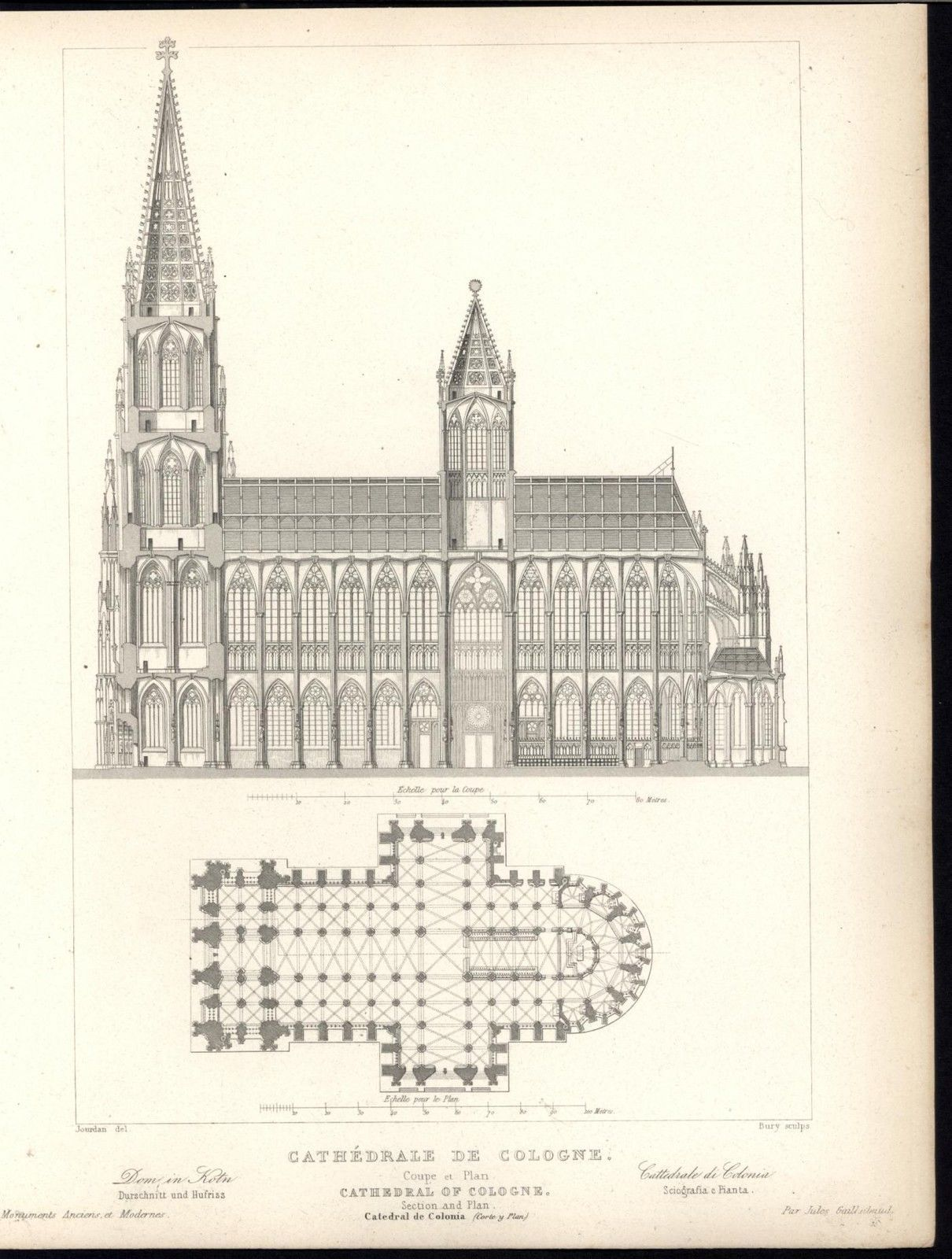 Cologne Cathedral Ground Plan Side View 1870 Antique Engraved Architecture Print