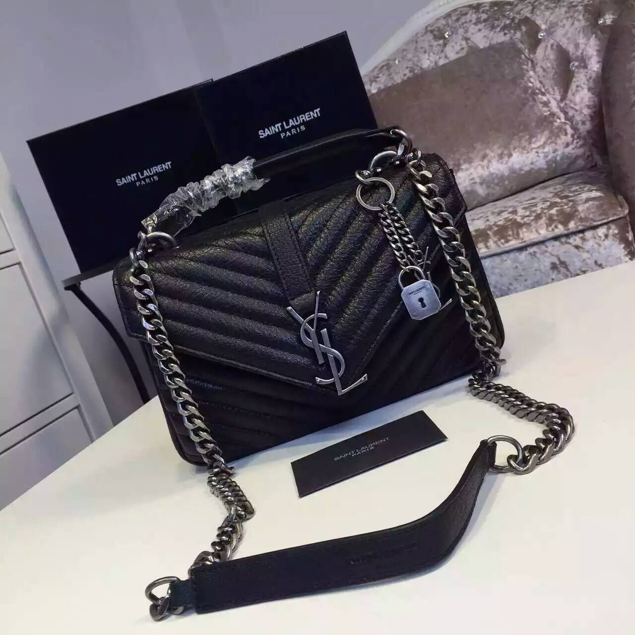 2016 New Saint Laurent Bag Cheap Sale-Saint Laurent Classic Medium COLLEGE  MONOGRAM Bag in Black MATELASSE Leather b081492894a2b