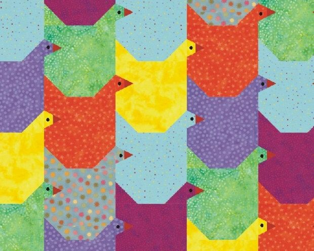 Tessellating Chicken paper pieced quilt pattern  Easter birds Instant DOWNLOAD PDF by RightPatterns on Etsy https://www.etsy.com/listing/182030392/tessellating-chicken-paper-pieced-quilt
