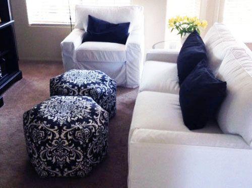 Groovy 24 Floor Ottoman Pouf Pillow Navy Blue White By Zeldabelle Ibusinesslaw Wood Chair Design Ideas Ibusinesslaworg