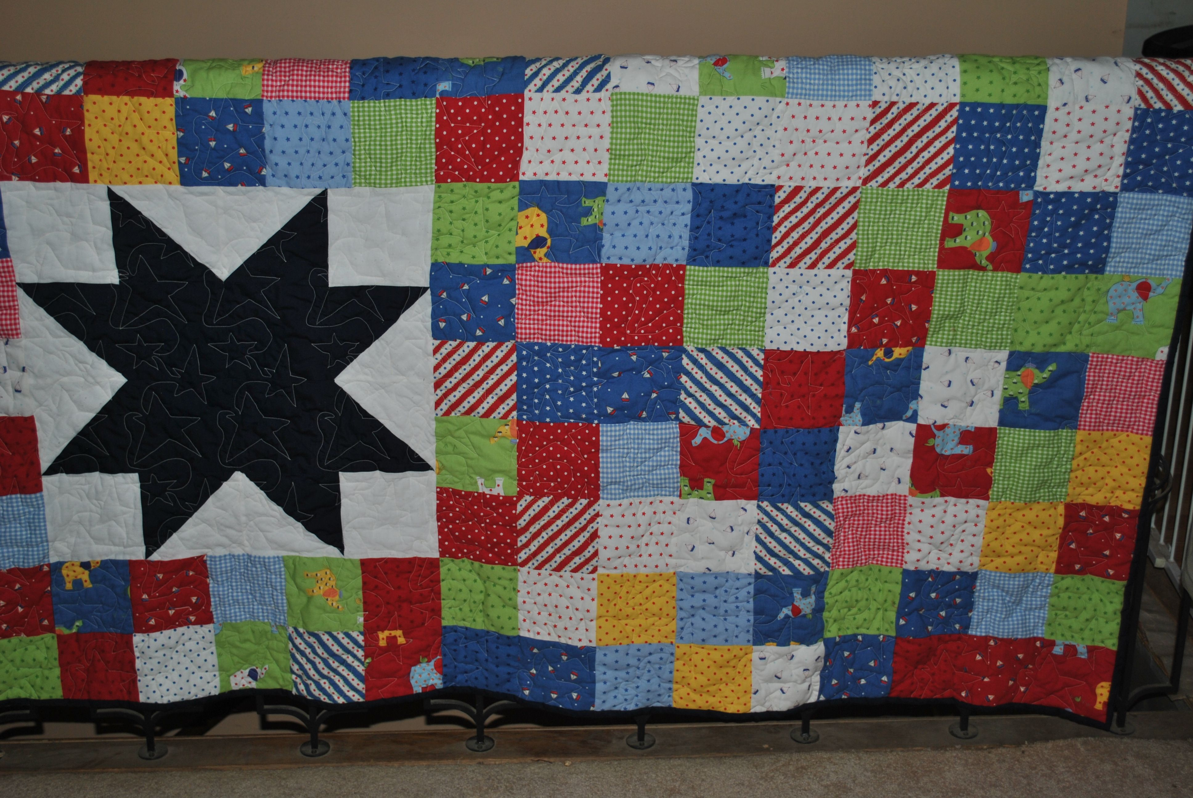 """Big Star"" Quilt. Pattern was from a Missouri Star Quilt Company tutorial."
