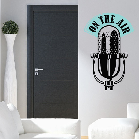 Wall Decal On The Air Sign Microphone Art Music Studio On Air Design ...