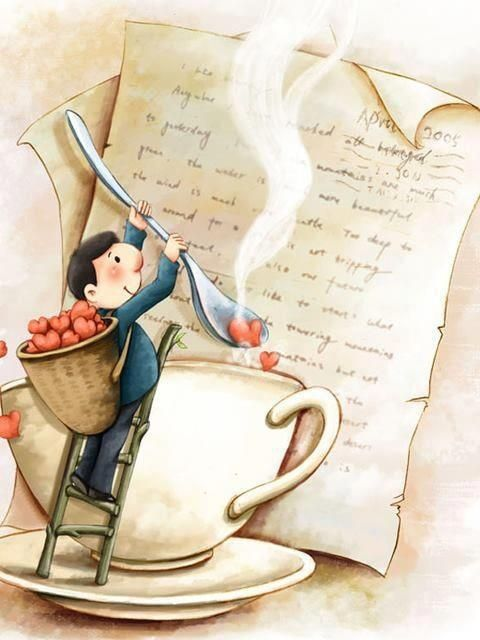 A cup of tea with ♥️, artist unknown