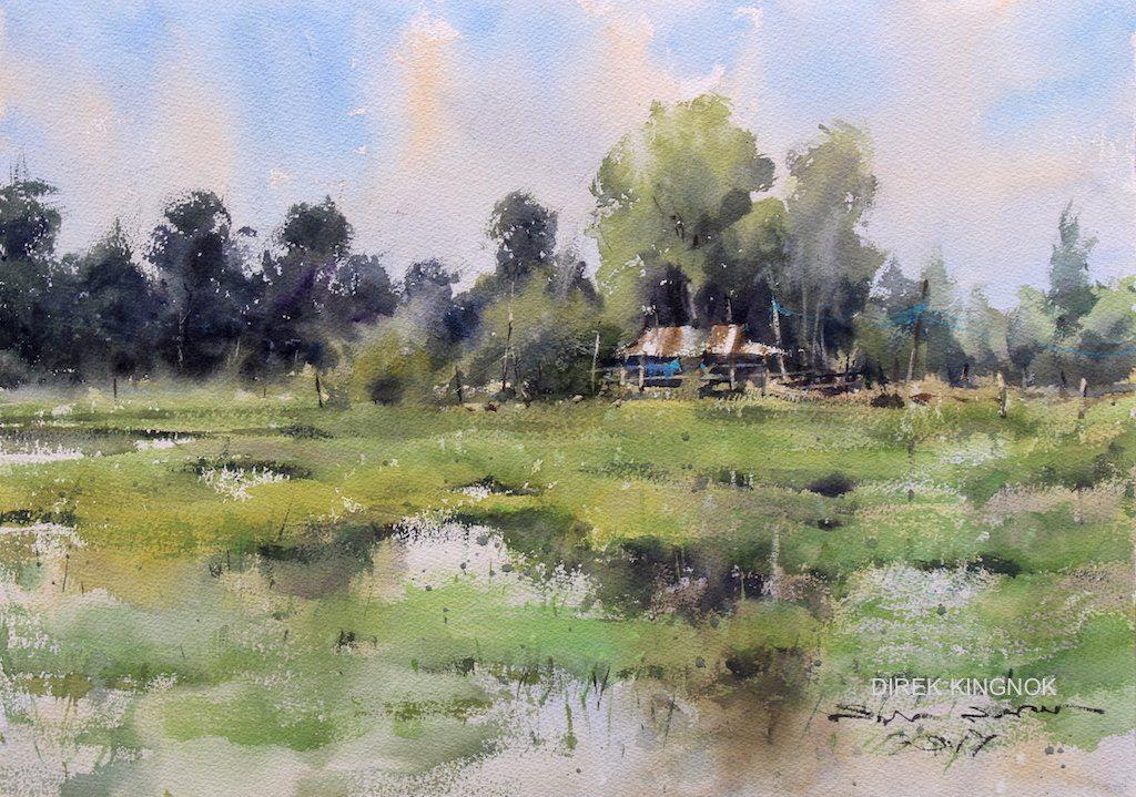 Direk Kingnok Watercolor artist    Green season 35 x 50 cm.