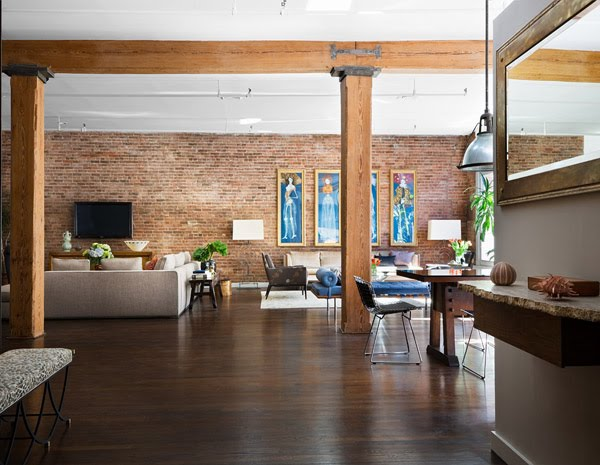 Modern Loft Apartment New York. Exposed Brick Walls And Wood Beams.