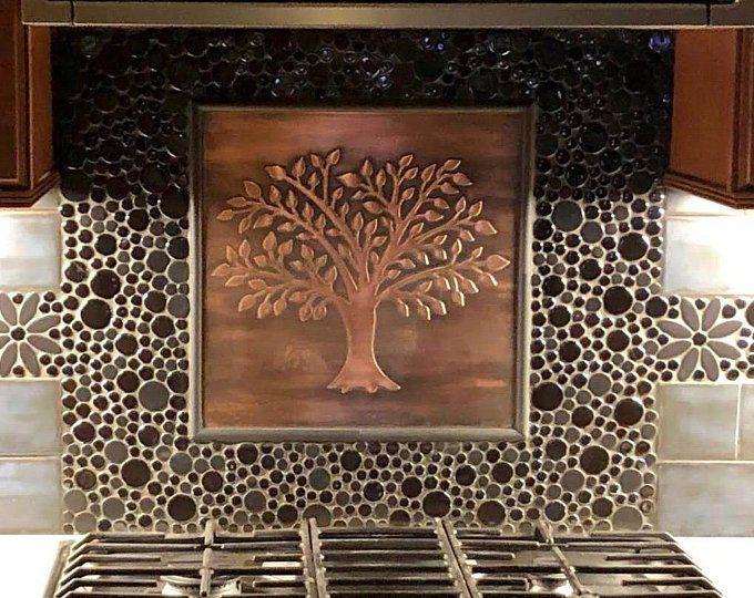 Tree Of Life 9 Handmade Copper Tiles Material 100 Etsy Copper Tiles Copper Backsplash Copper Crafts