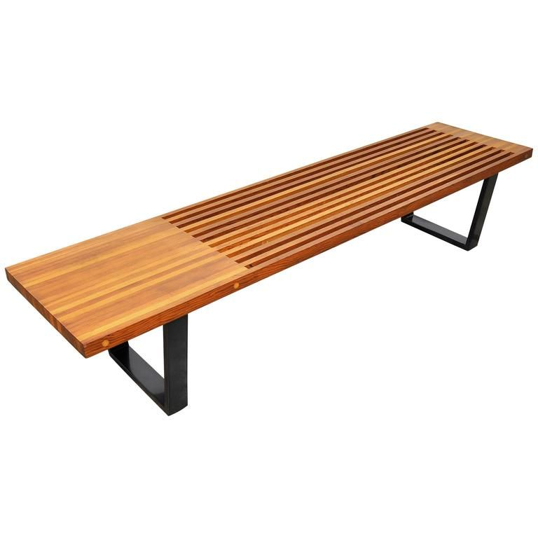 Mid Century Modern George Nelson Style Slat Bench Benches For Sale Modern Bench George Nelson