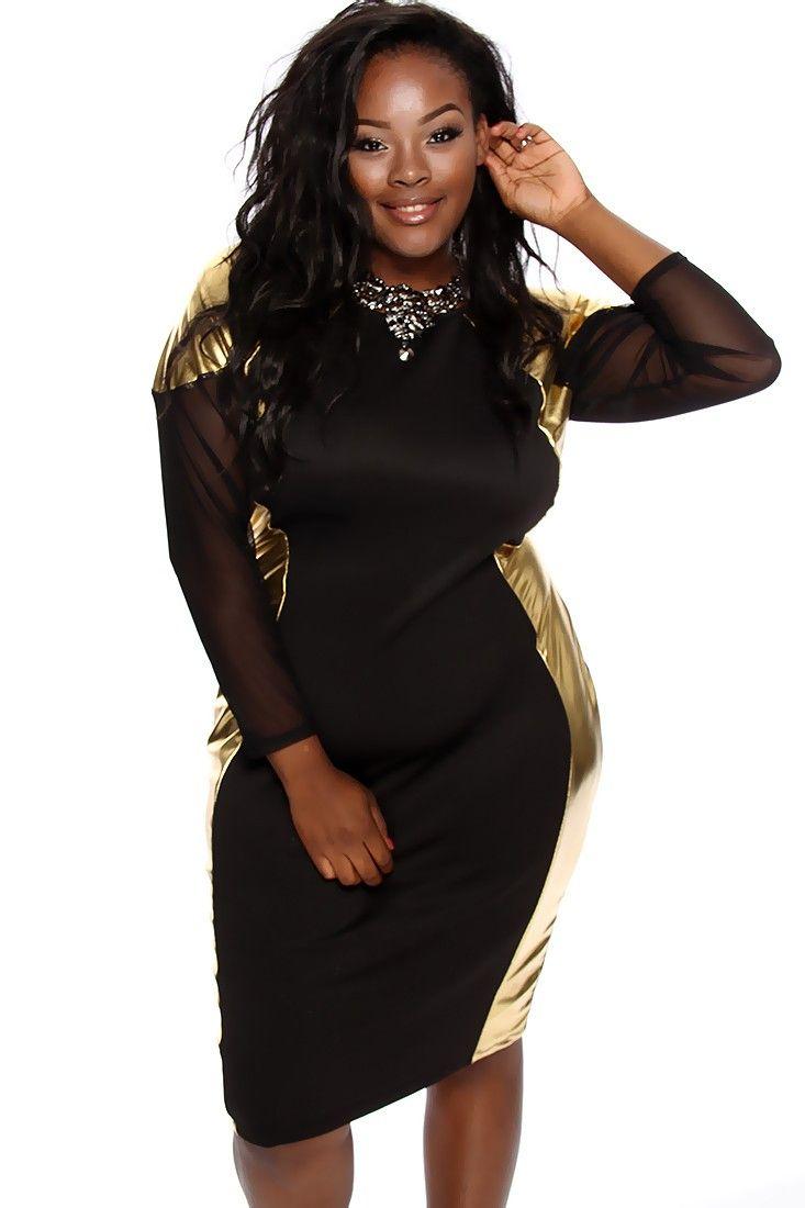 plus size black and gold dress choice image - dresses design ideas
