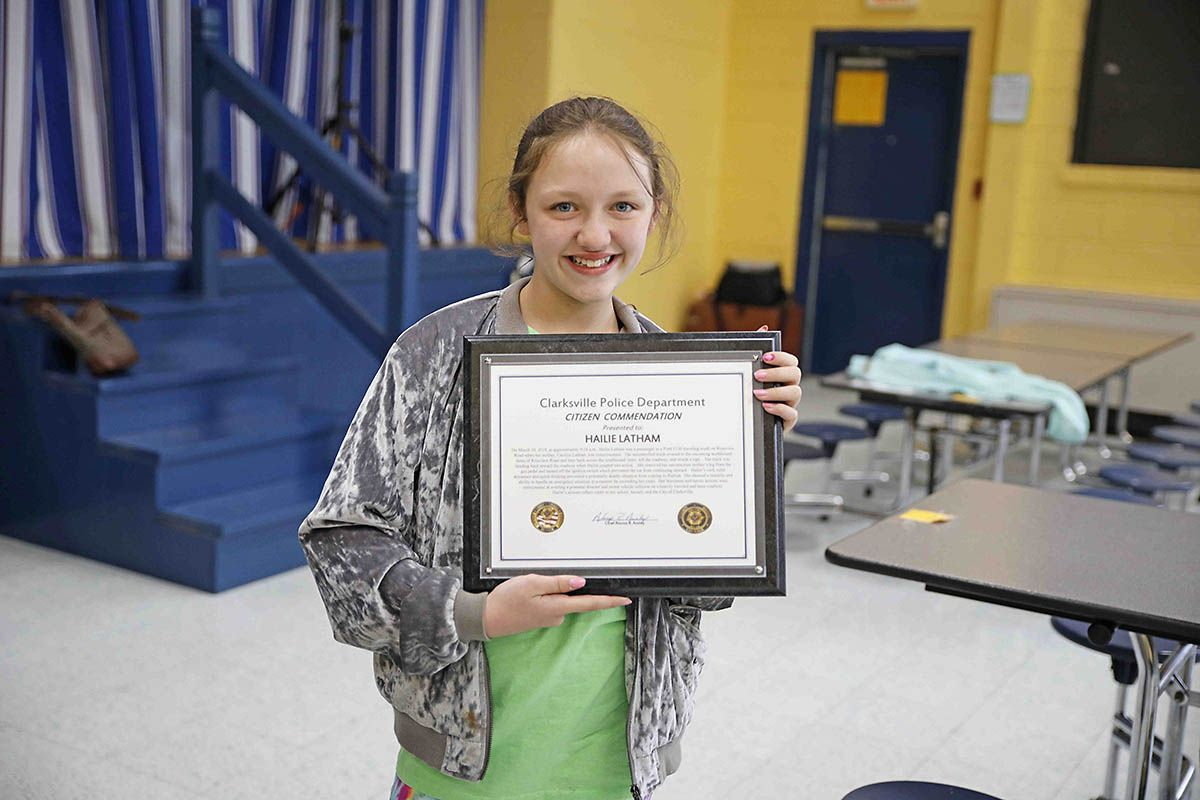 Clarksville Police recognize 10 year old Hailie Latham for