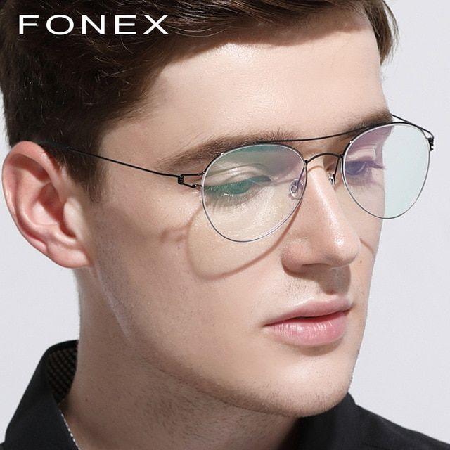 79edf010a2 Titanium Optical Glasses Frame Men Ultralight Women New Aviation Myopia  Prescription Eyeglasses Korean Denmark Screwless Eyewear eyeglasses   Hipster ...