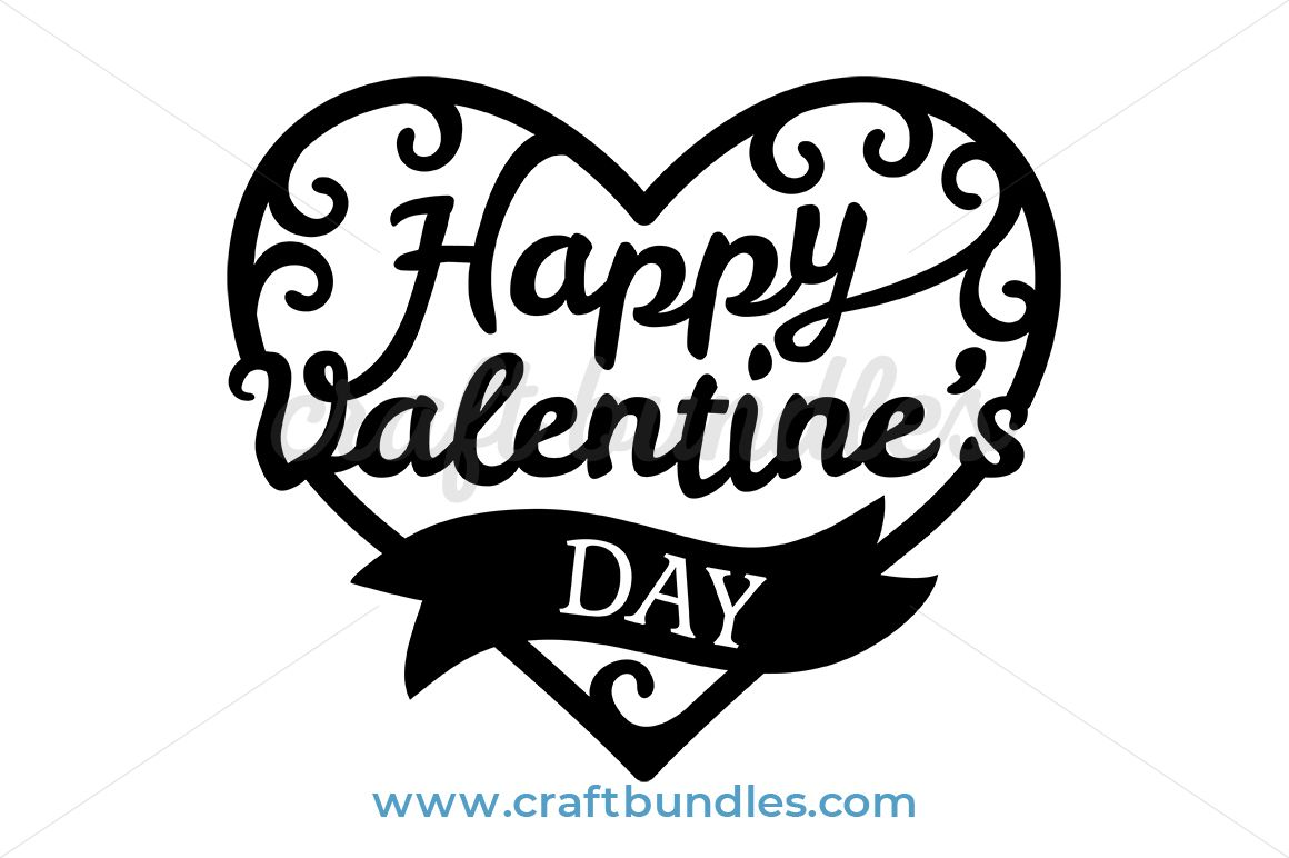 Valentine Heart With Banner SVG Cut File | Cricut and