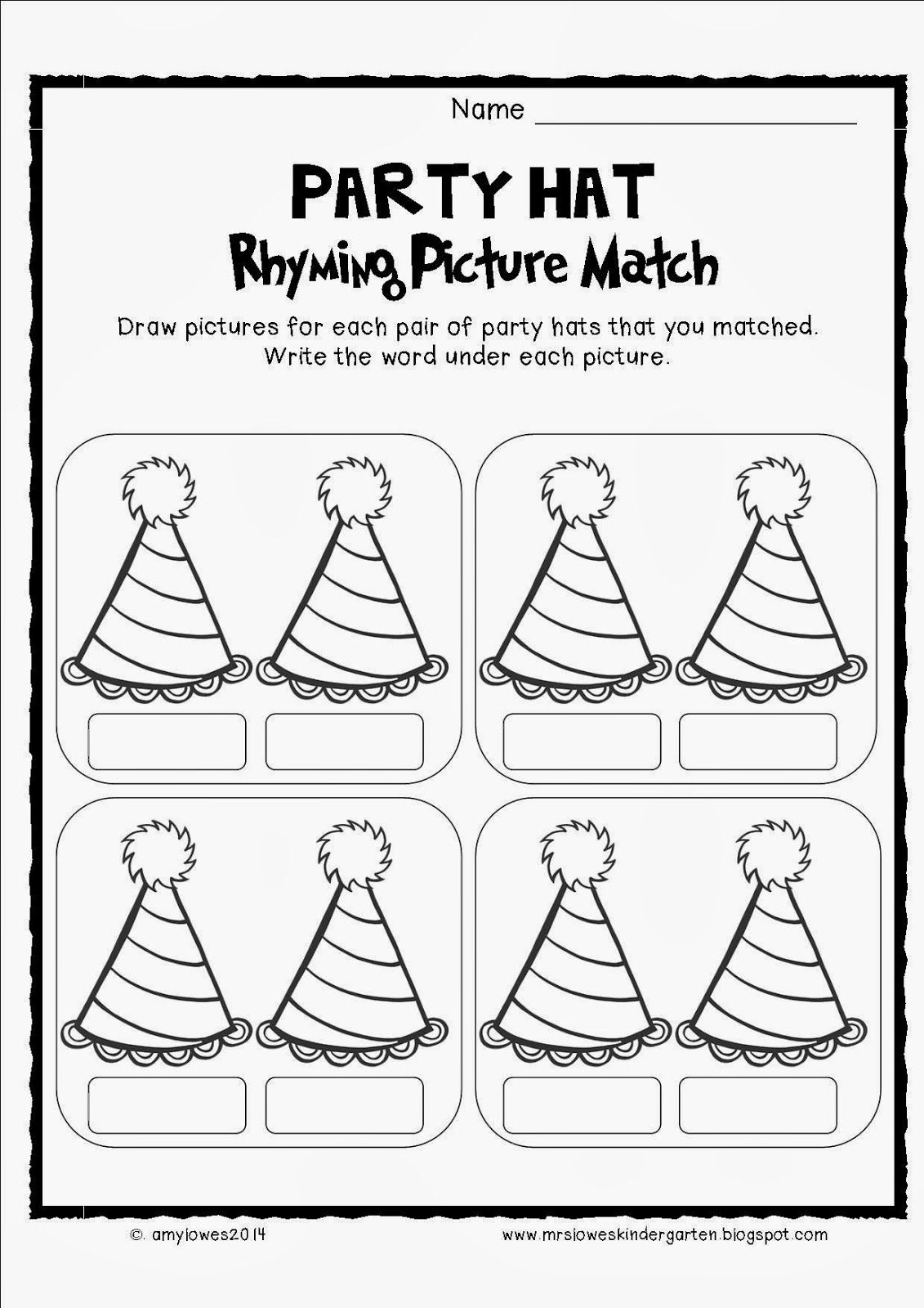 Seusstastical Party Hat Rhyming Picture Match Freebie
