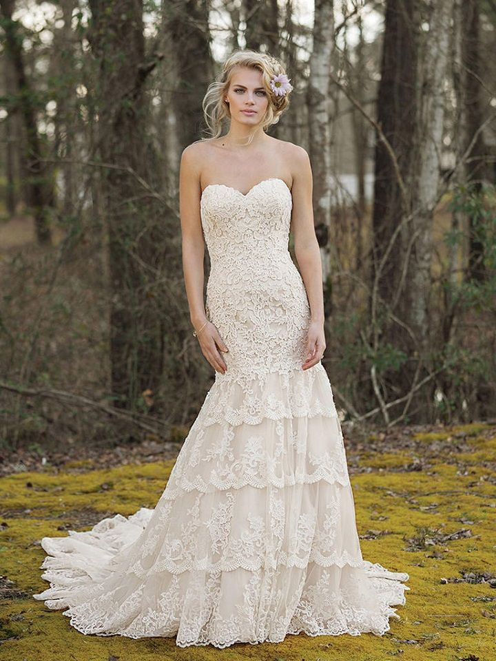 Allover Lace Strapless Gown with Tiered Lace Skirt and Monarch Train | itakeyou.co.uk #weddingdress #weddingdresses #weddinggown #bridalgowns