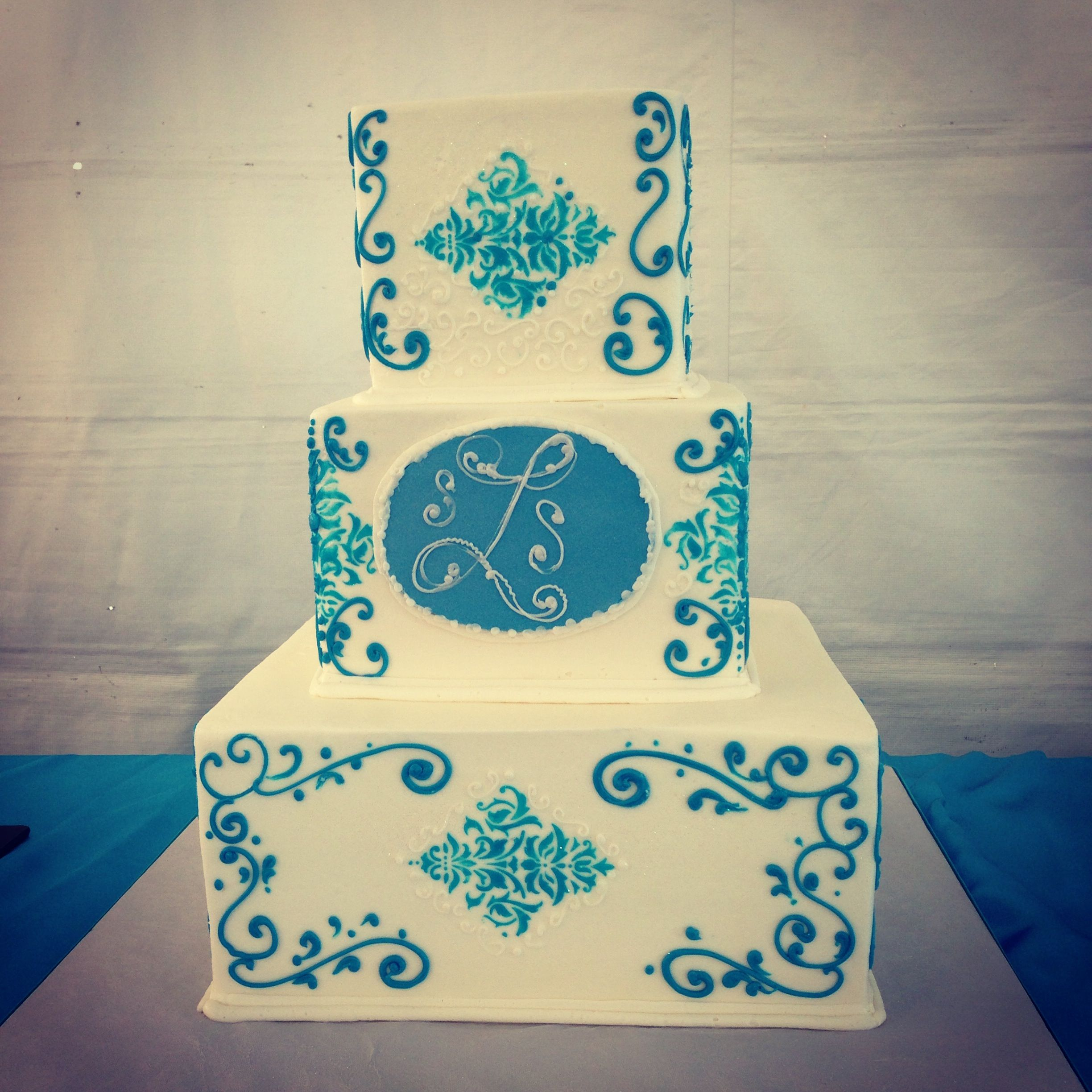 Turquoise damask with scrolling Sweet Layers Cakes & Pastries ...