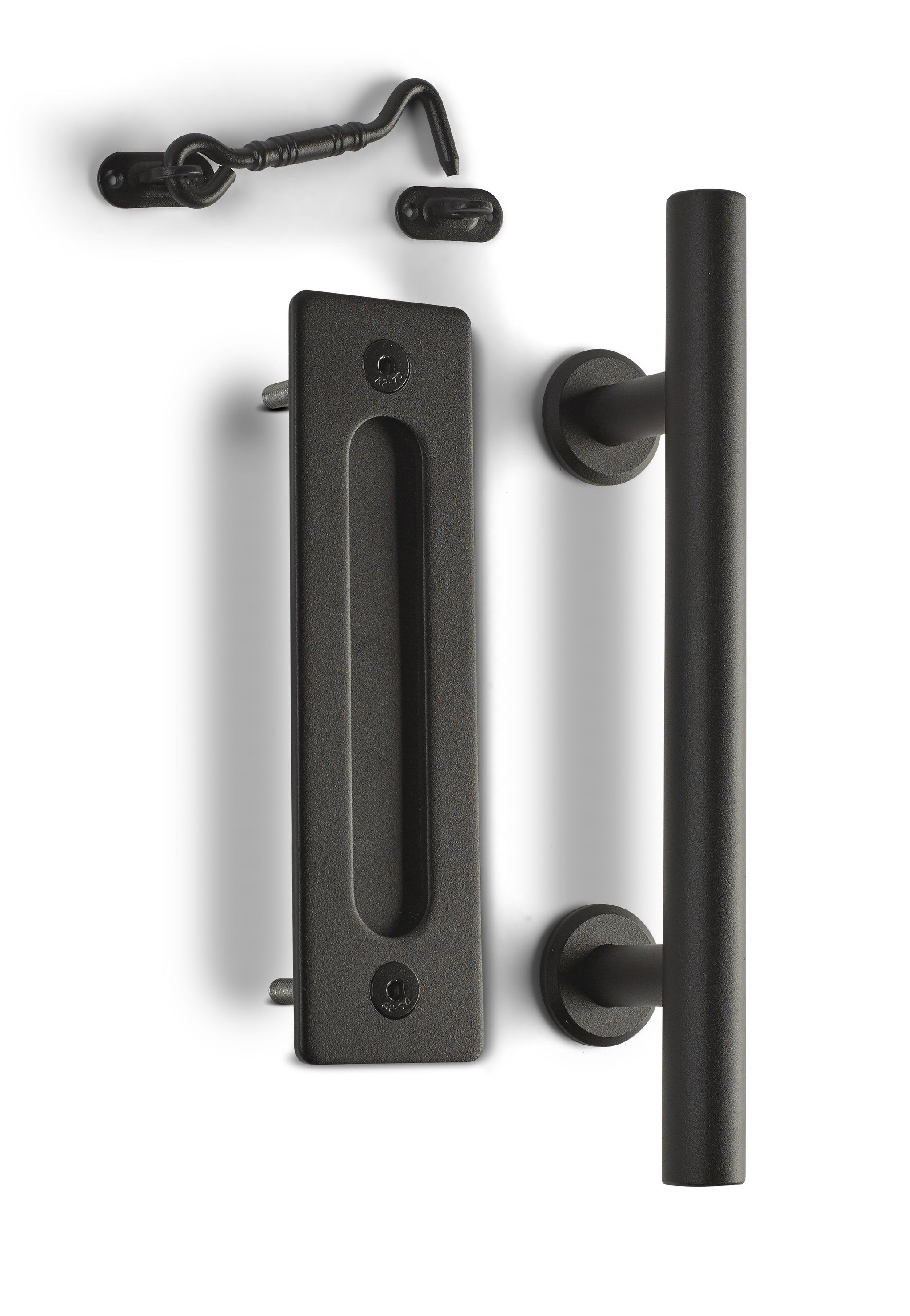 12 Round Barn Door Pull With Flush Plate Latch Matte Black Barn Door Handles Hardware Barn Door Latch Barn Door Projects