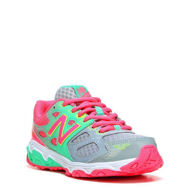 New Balance Kids' KR680 Medium/Wide/X-Wide Running Shoe Pre/Grade School  Shoes (Grey/Pink Leather)