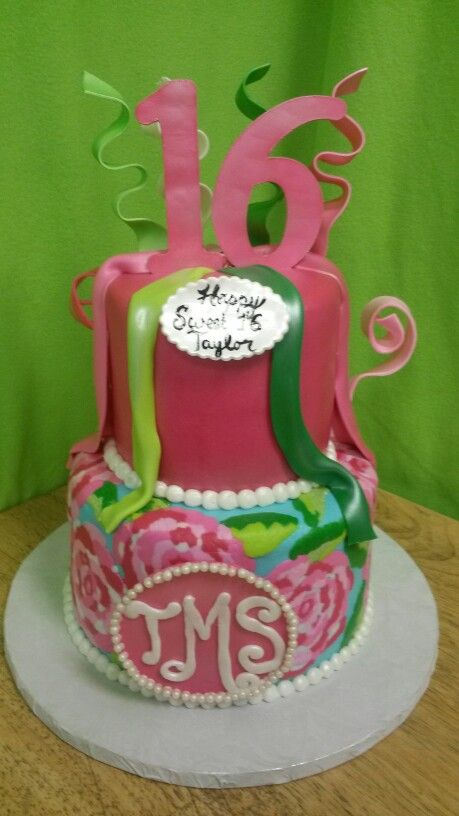 Lilly Pulitzer Cake Adult Birthday Cake Pinterest Cake - Monogram birthday cakes