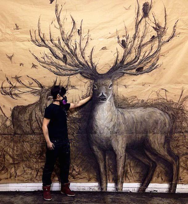 Quand l'artiste Fiona Tang dessine des animaux au relief impressionnant ! (image)