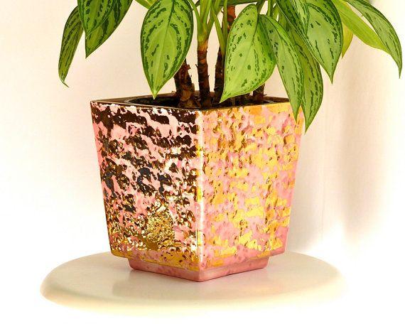 Mid Century Decor   Pink & Gold Glazed Ceramic by ModLoungeVintage, $26.00
