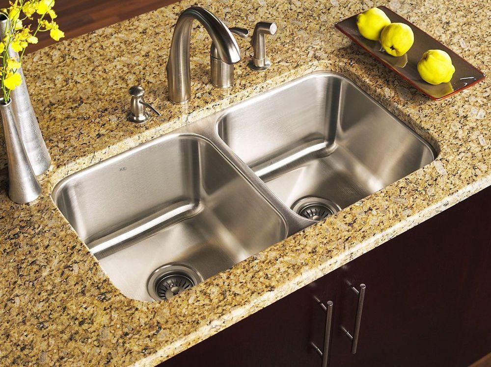 KE Stainless Steel Undermount Kitchen Sink Double 16G 50