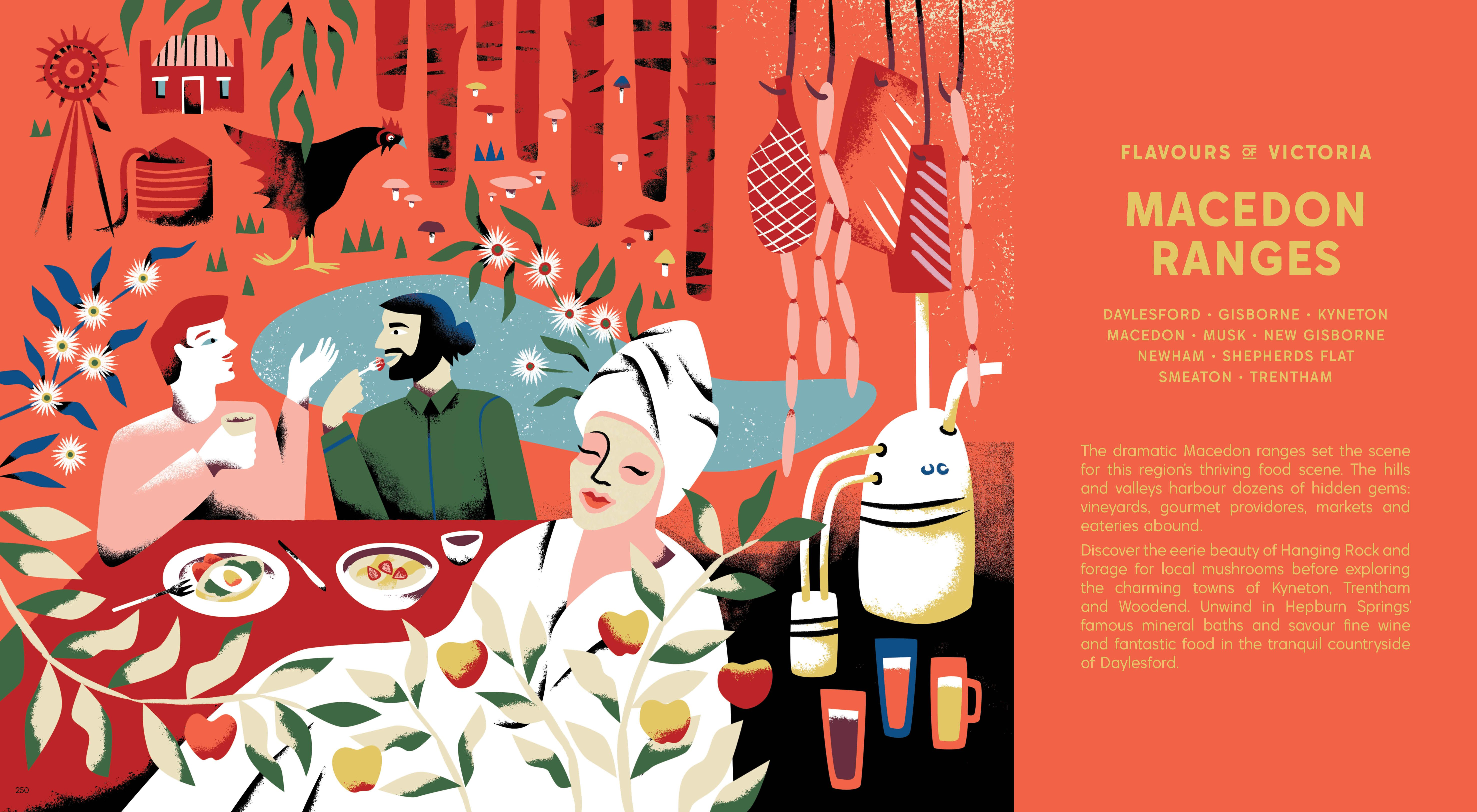 Macedon Ranges Illustration By Antra Svarcs Flavours Of Victoria Warna