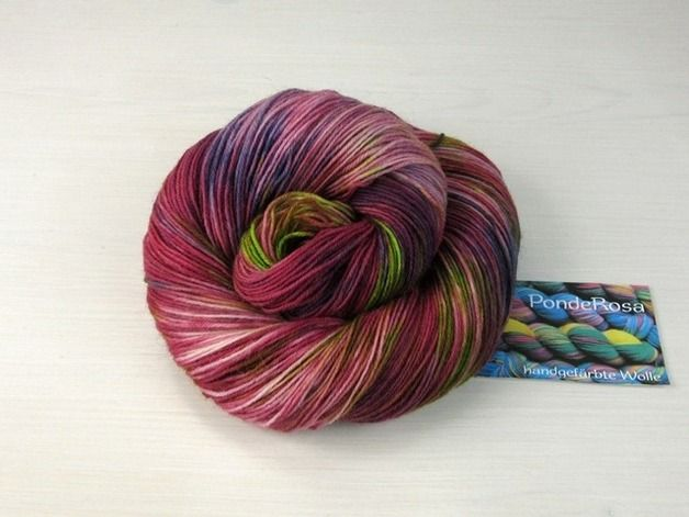 """Handgesponnen & -gefärbt - """"ColorMix"""" Sockenwolle handgefärbt - ein Designerstück von PondeRosa-Wolle bei DaWanda"""
