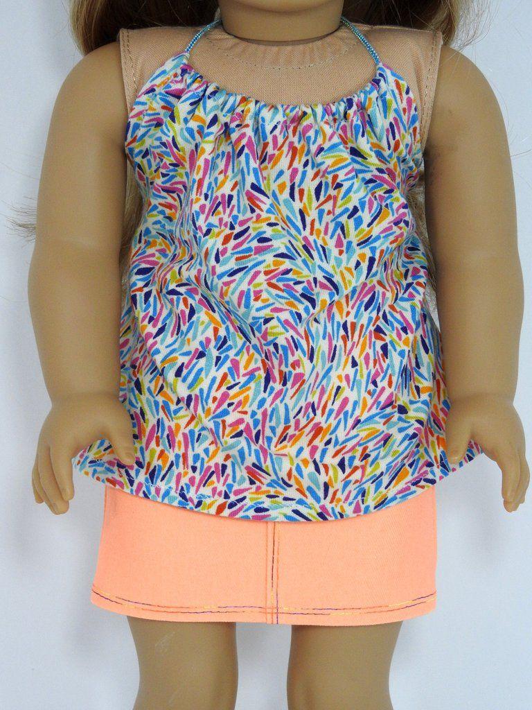 88ae9777b AG Doll Handmade Neon Orange Denim Mini Skirt and Halter Top ...