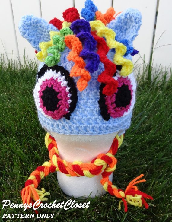 Listing for my pony hat CROCHET PATTERN ONLY. This pattern makes the adorable p #crochetpony