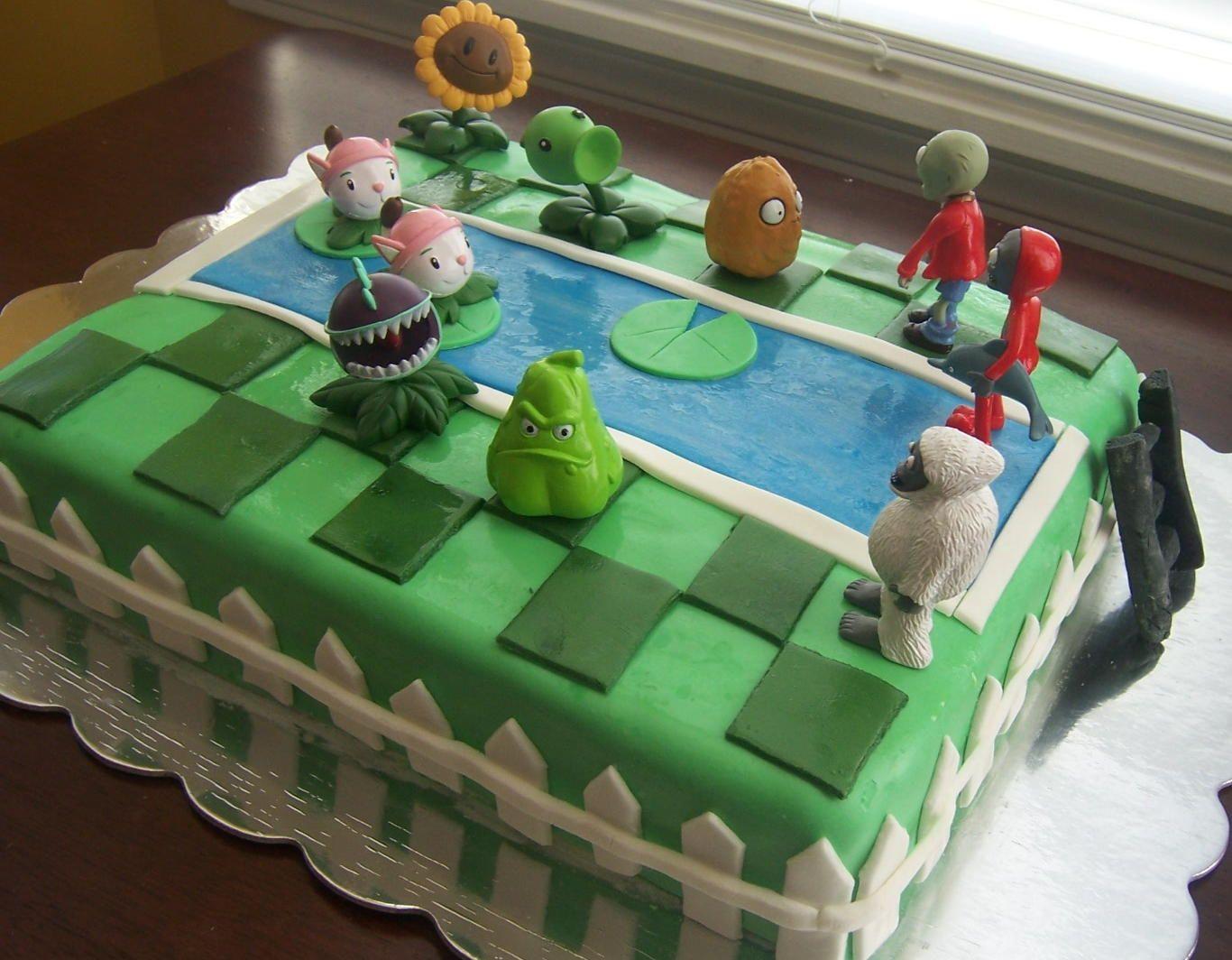 Cake Plant vs Zombie Birthday Party PopCap Cakes blogpopcapcom