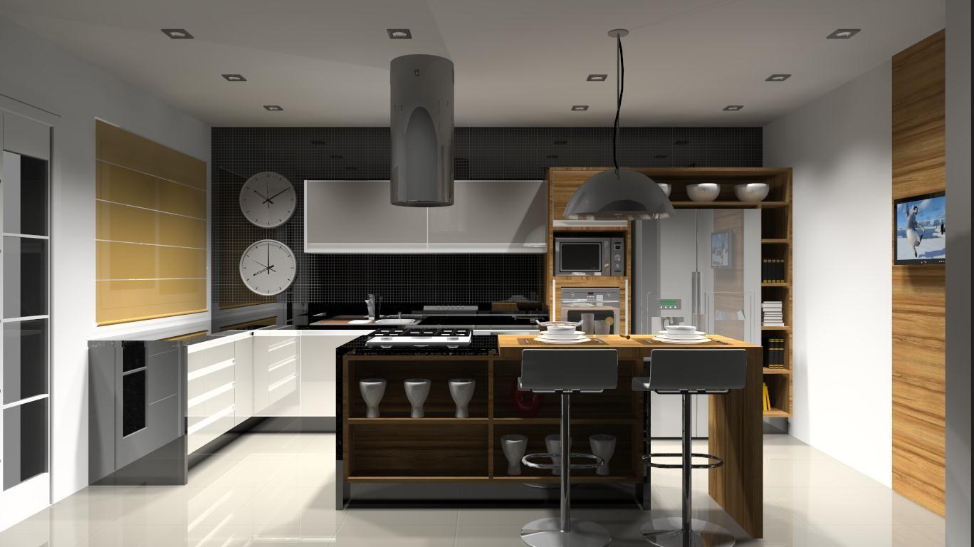 Cozinha Planejada Com Ilha E Mesa Excellent Best Integrada Cozinha