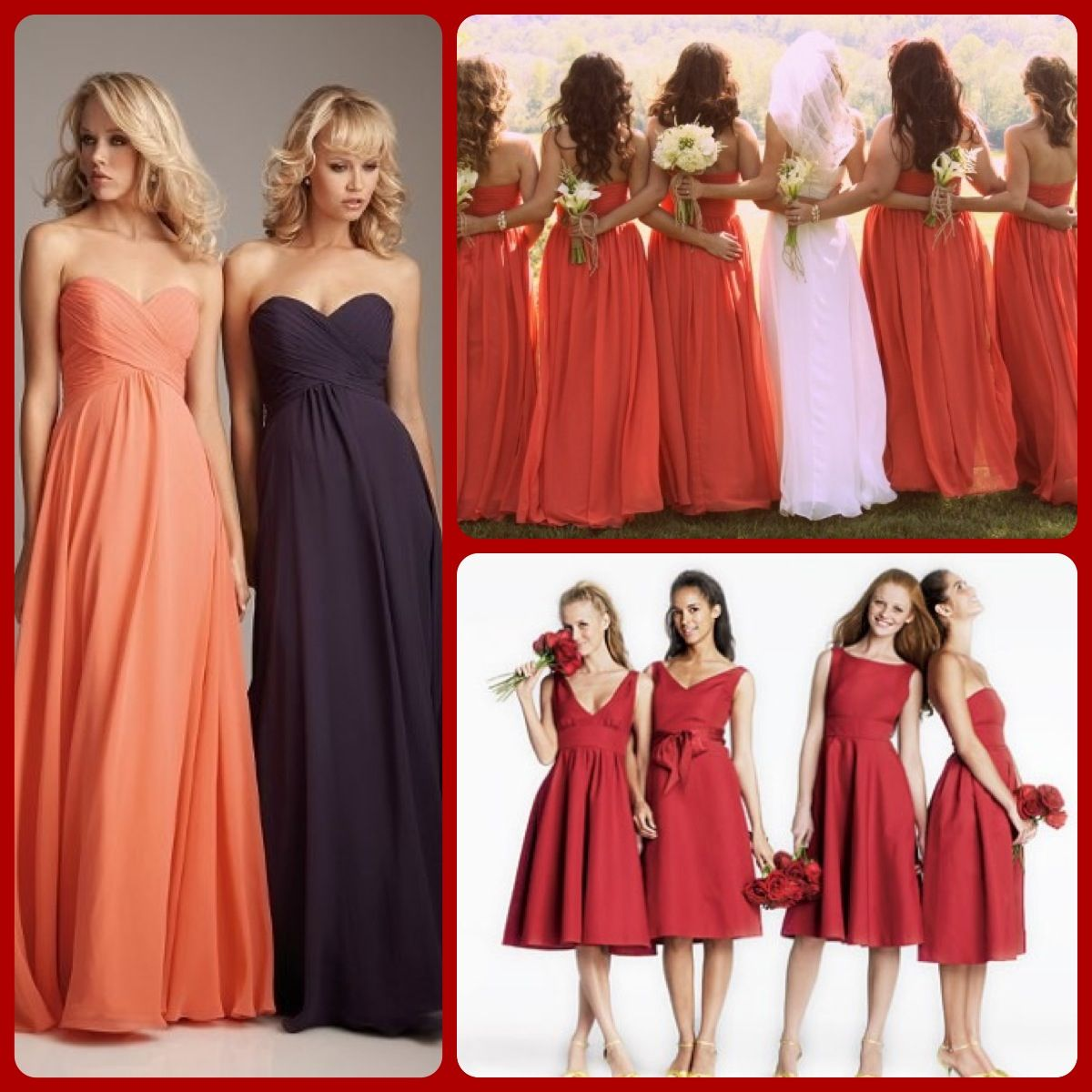 fall bridal party pictures%0A Long bridesmaids dresses  I think yes  Perfect for an October wedding
