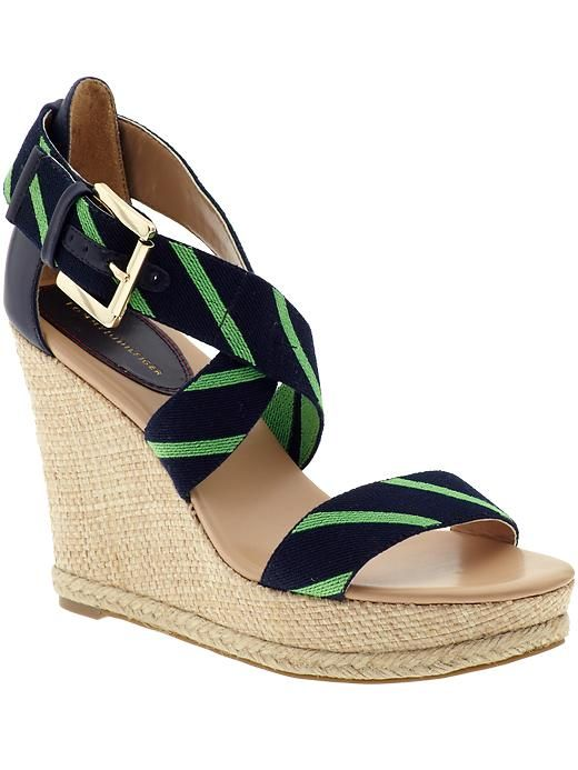 Tommy Hilfiger Navy + Green Wedges