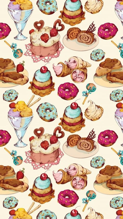Art Background Beautiful Beauty Cartoon Cupcakes Dessert Drawing Fashion Fashionable F Ilustracao De Bolos Ilustracoes De Alimentos Imagem De Fundo Para Iphone