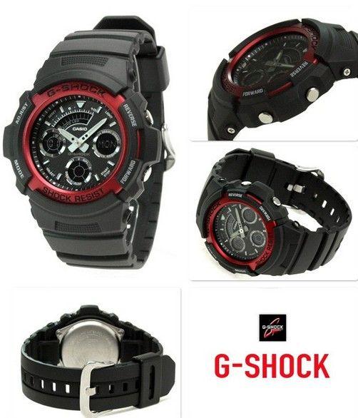 Montre Casio G Shock noir et rouge AW591, une montre de  AUhvl