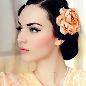 Beautiful blush + winged eyeliner