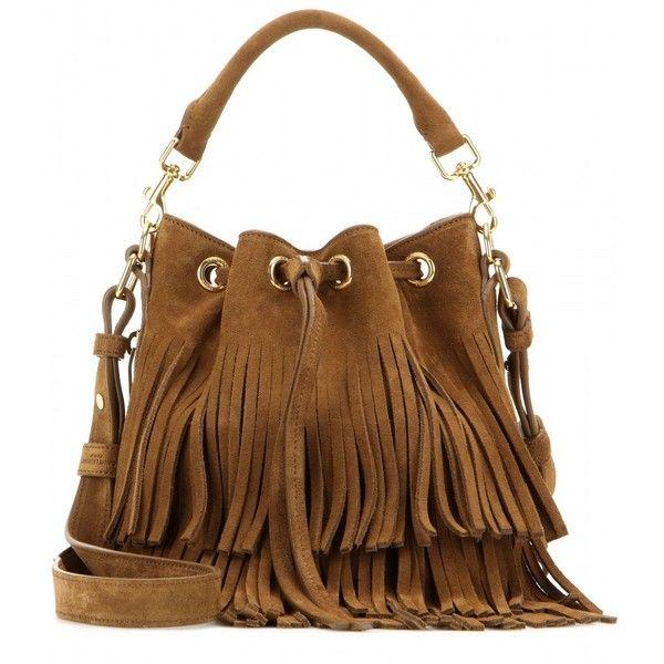 011128370849 Saint Laurent Emmanuelle Classic Small Fringed Suede Bucket Bag ...