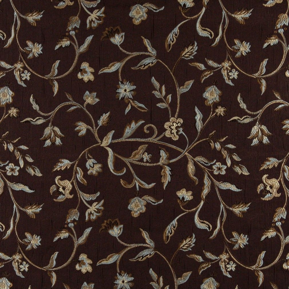 A0011f Brown Light Blue Gold And Ivory Floral Upholstery Fabric By