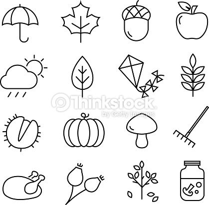Collection of autumn icons – autumn symbols and activities. Thin…
