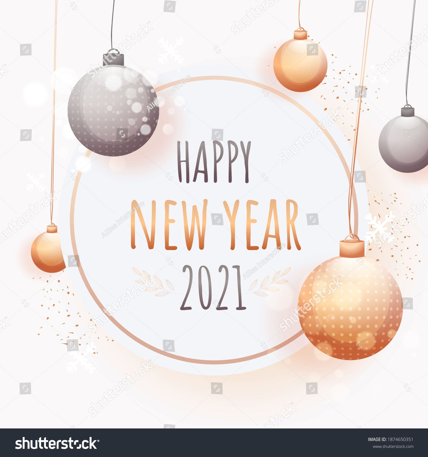 2021 Happy New Year Text On White Background Decorated With Hanging Baubles And Bokeh Effect In 2021 Happy New Year Text New Year Text Happy New Year 2021 happy new year christmas ball