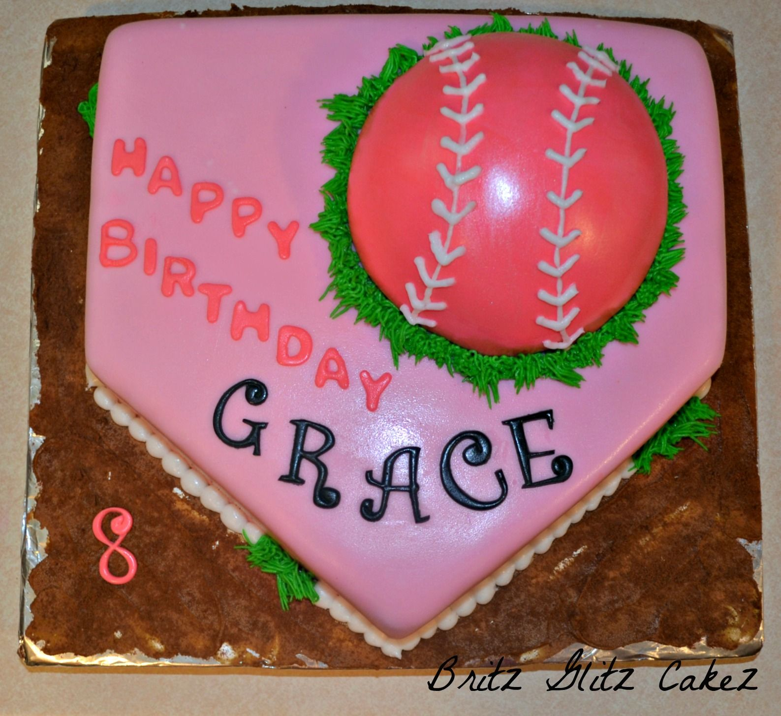 Girly Softball Cake I Did This Weekend