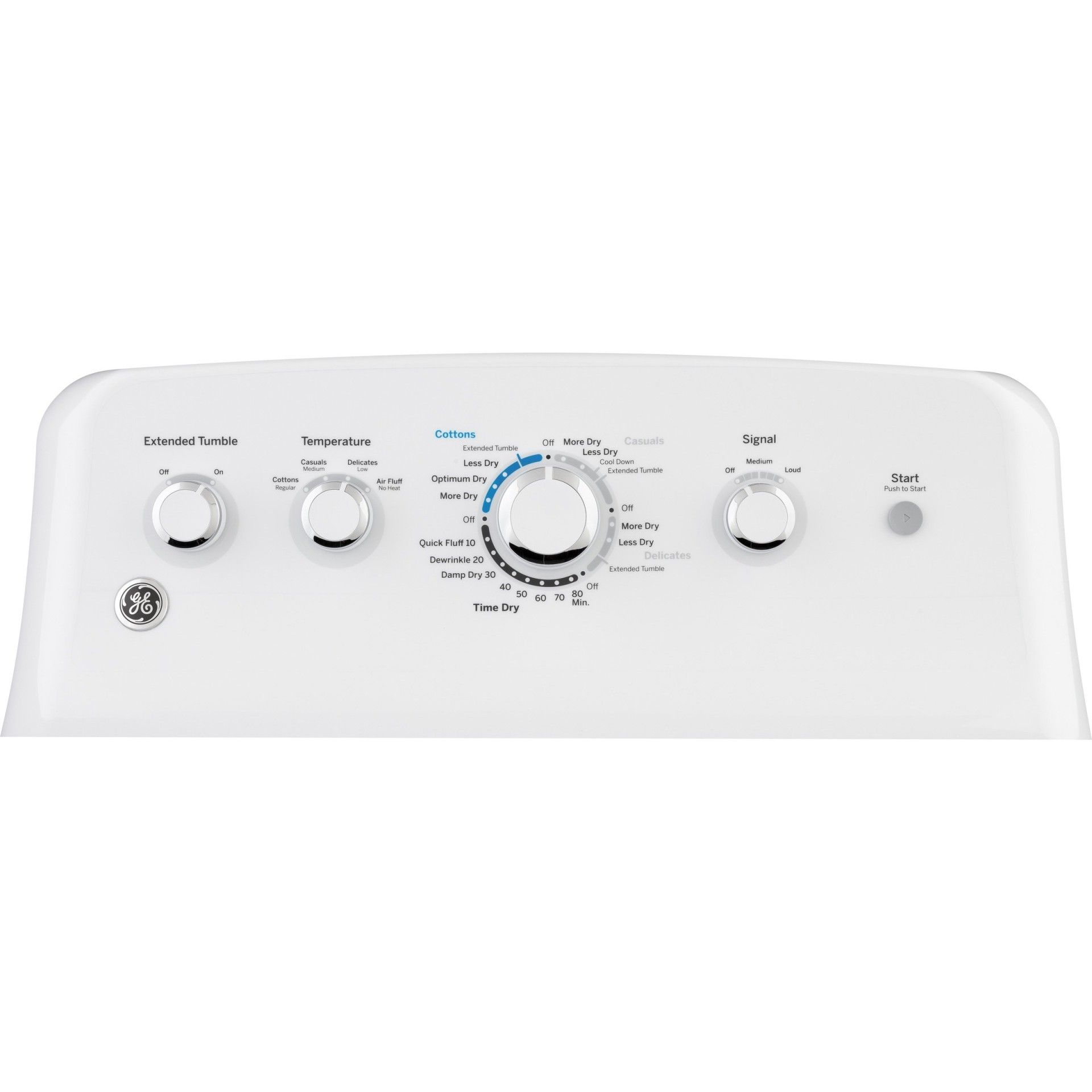 "GE GTD42EASJWW  27"" Electric Dryer with 7.2 cu. ft. Capacity, 4 Dry Cycles, 4 Temperature Settings, in White"