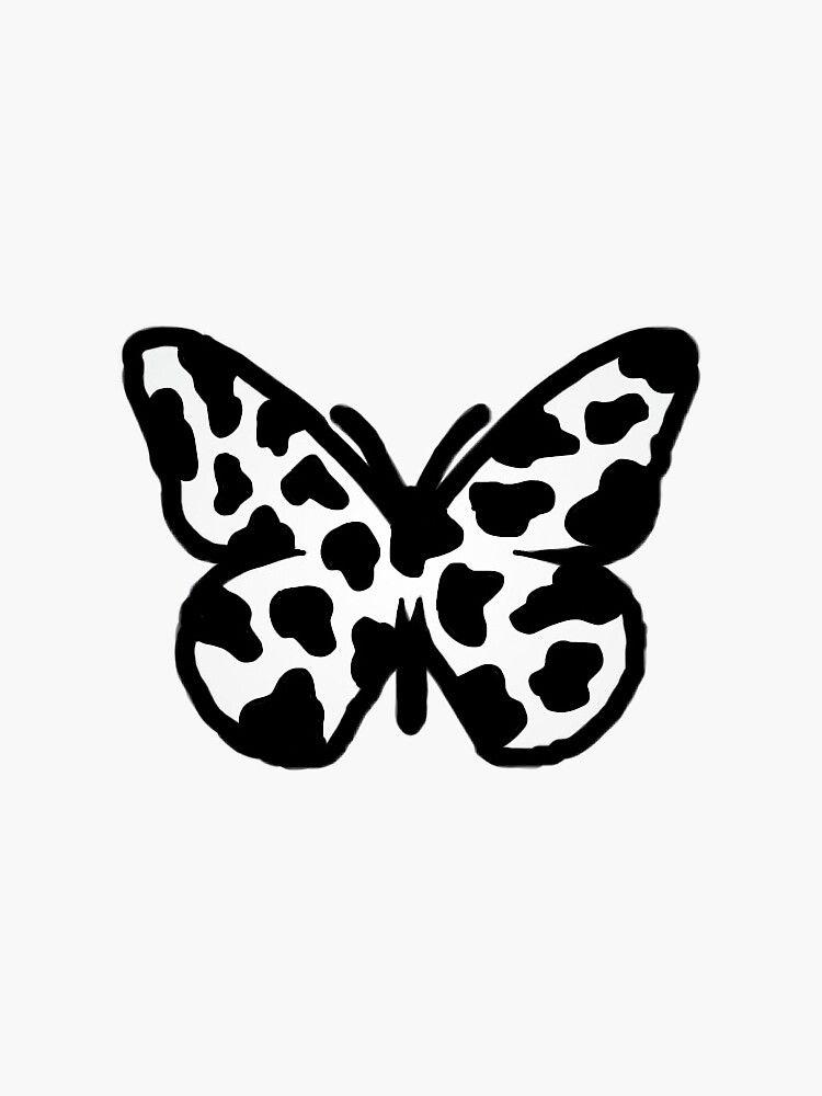 cow print butterfly Sticker