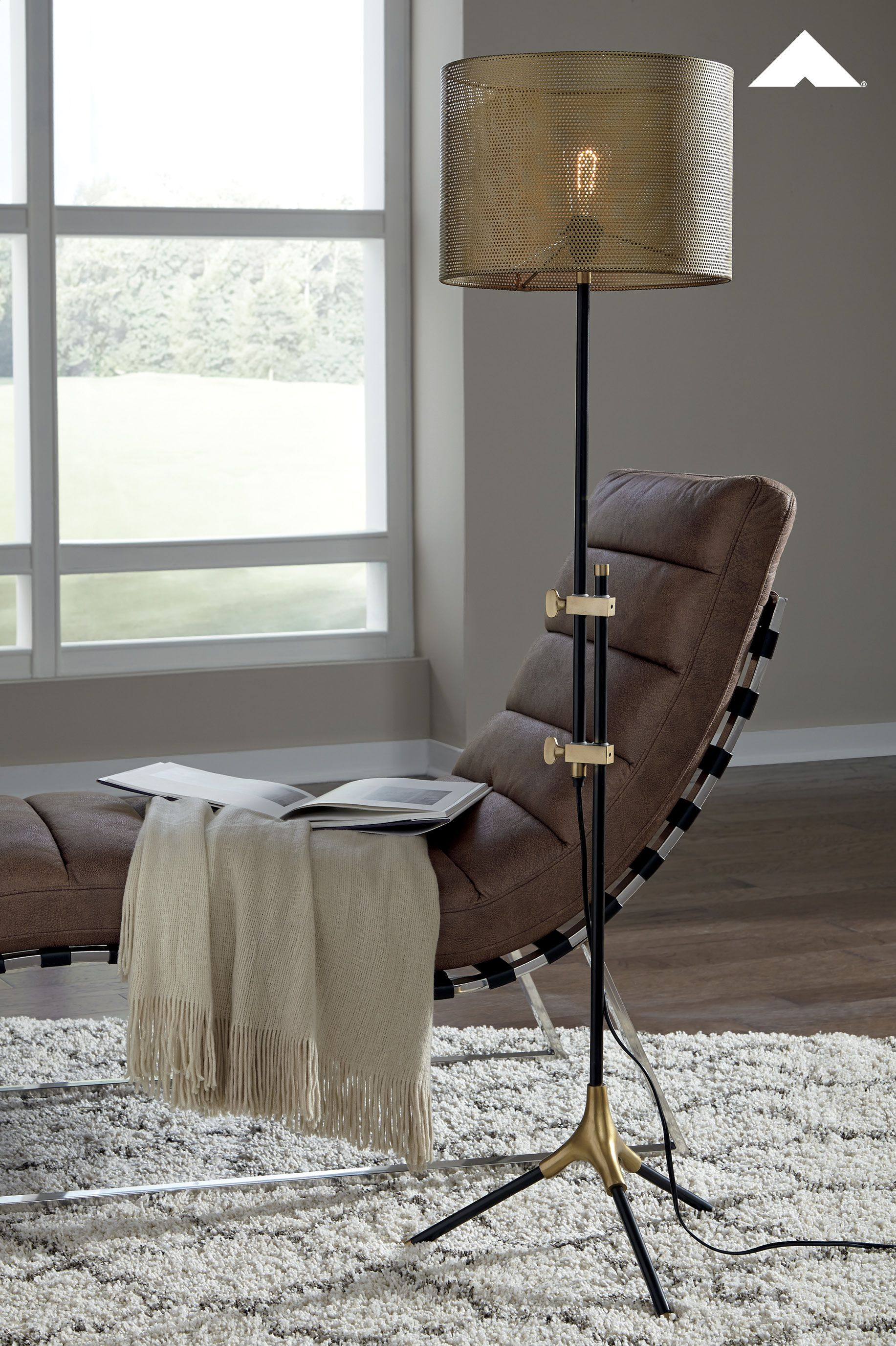 Mance Gray Brass Finish Floor Lamp Wowing With A Metal Mesh Shade This Floor Lamp Is Lighting Done Right Br Metal Floor Lamps Floor Lamp Ashley Furniture