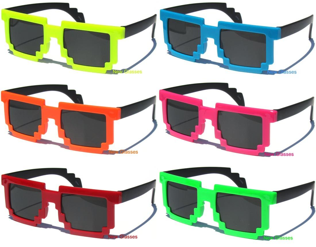 71d6b23d0b Kids Size 8 Bit Retro Computer 80s Video Game Pixel Sunglasses for Children  New