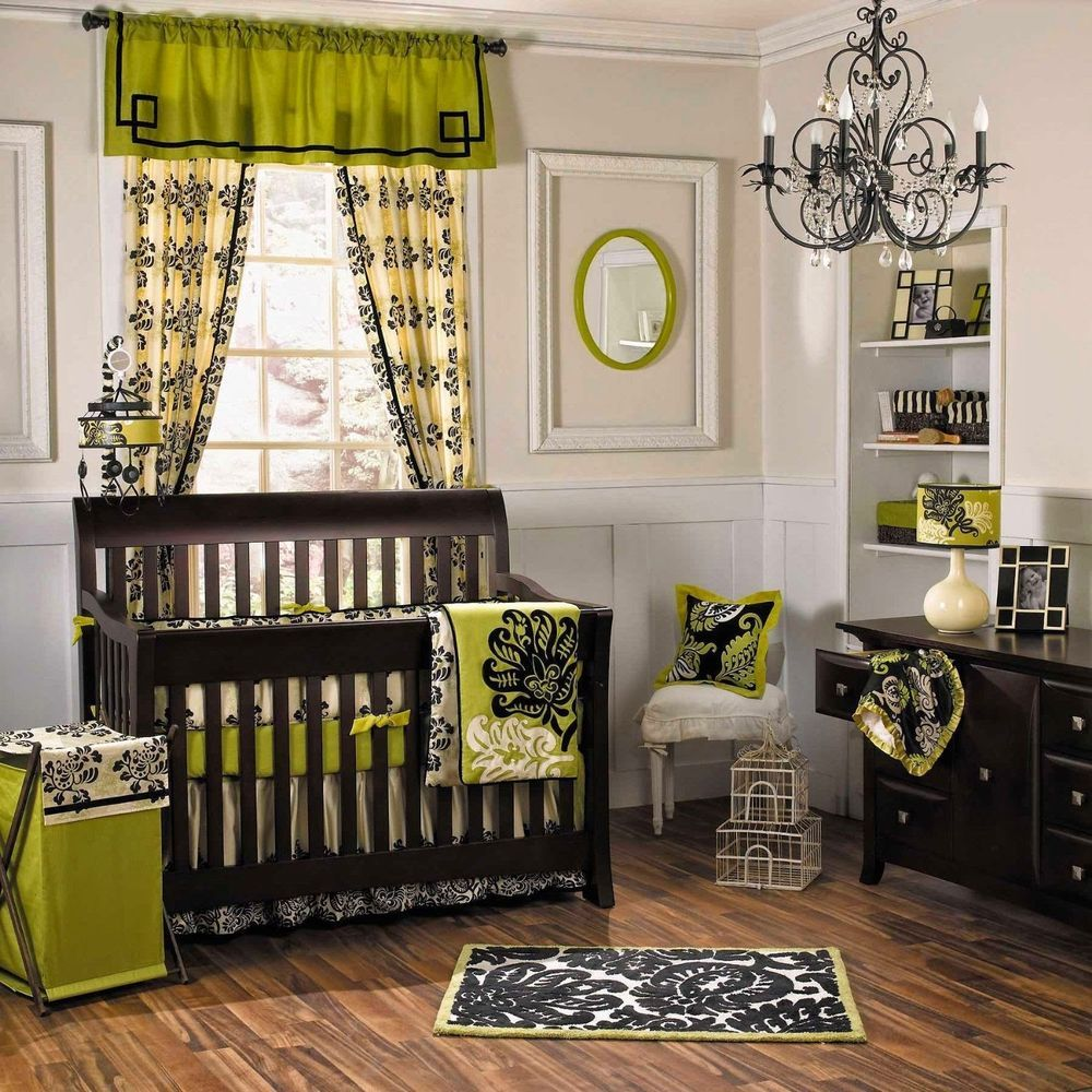 10 Pc Cocalo Harlow Neutral Crib Bedding Set Green Black