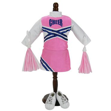 Pink & Navy Cheerleader Outfit with Pom-Poms For 18 Dolls